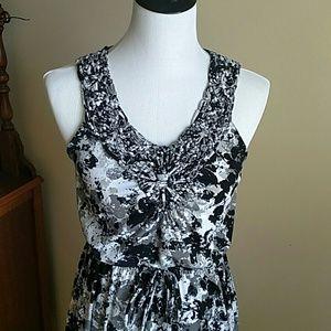 Macrame black floral maxi dress